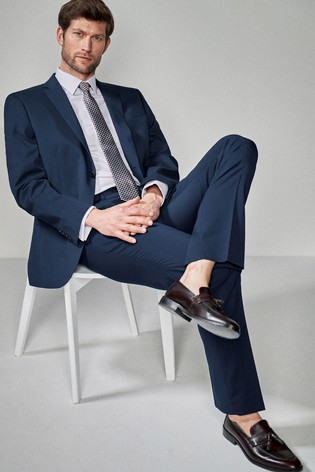 Bright Blue Regular Fit Stretch Tonic Suit: Jacket