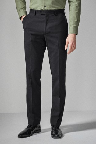 Black Regular Fit Stretch Tonic Suit: Trousers