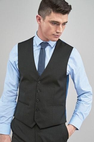 Charcoal Stretch Tonic Suit: Waistcoat