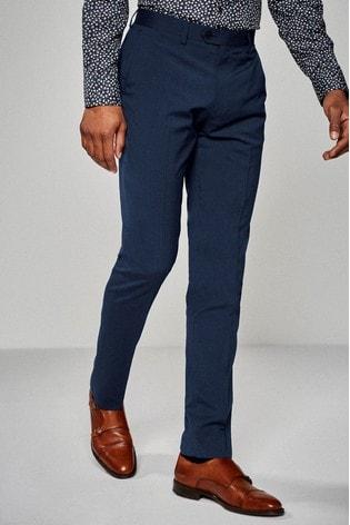 Bright Blue Slim Fit Stretch Tonic Suit: Trousers