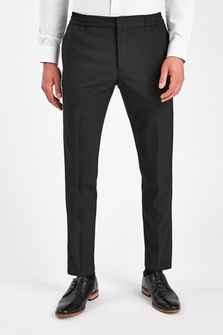 Black Slim Tapered Stretch Tonic Suit: Trousers