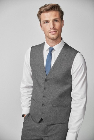 Grey Puppytooth Suit: Waistcoat