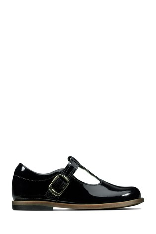 Clarks Black Drew Shine T Shoes