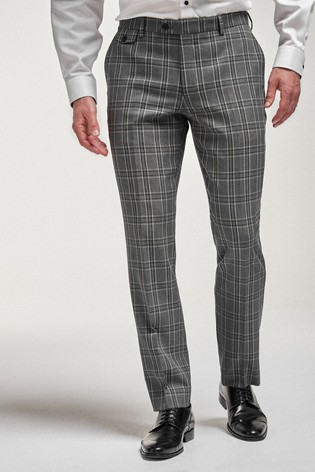 Grey/Black Tailored Fit Check Suit: Trousers