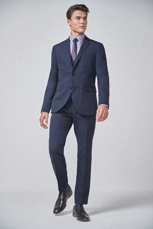 Navy/Black Slim Fit Check Suit: Jacket