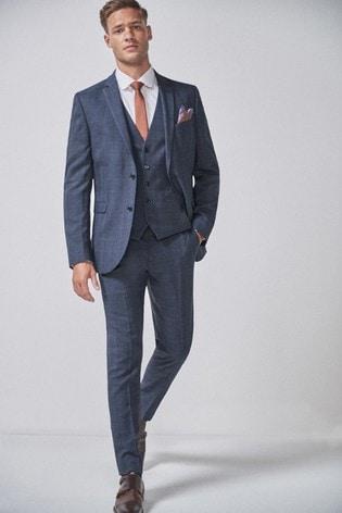 Mid Blue Slim Fit Check Suit: Jacket