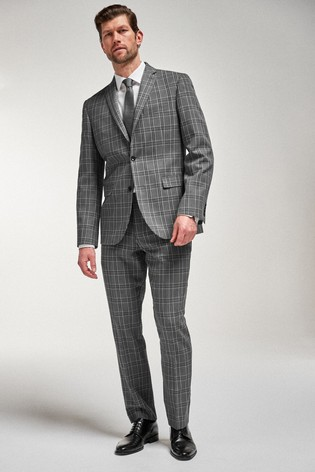 Grey/Black Tailored Fit Check Suit: Jacket
