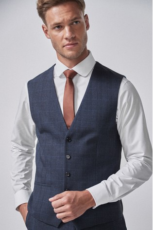 Mid Blue Check Suit: Waistcoat