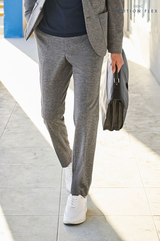 Grey Marl Skinny Fit Jersey Suit: Trousers