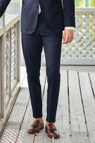Navy Slim Tapered Cotton Suit: Trousers