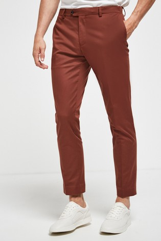 Rust Slim Tapered Cotton Suit: Trousers