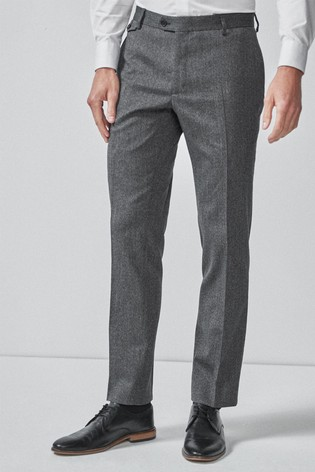 Grey Tailored Fit Donegal Suit: Trousers