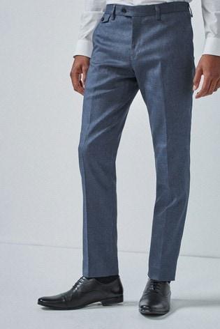 Blue Slim Fit Donegal Suit: Trousers