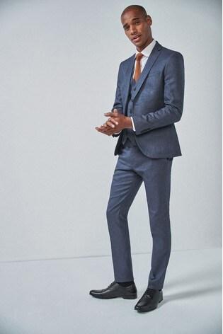 Blue Skinny Fit Donegal Suit: Jacket