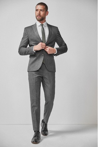 Grey Skinny Fit Donegal Suit: Jacket
