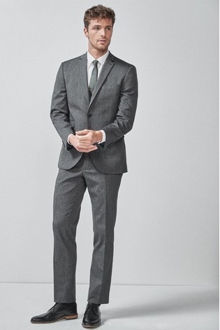 Grey Tailored Fit Donegal Suit: Jacket