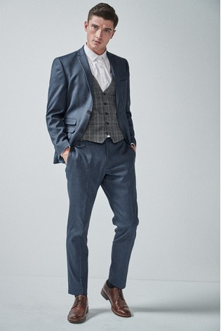 Blue Tailored Fit Donegal Suit: Jacket