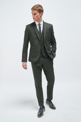Green Skinny Fit Donegal Suit: Jacket