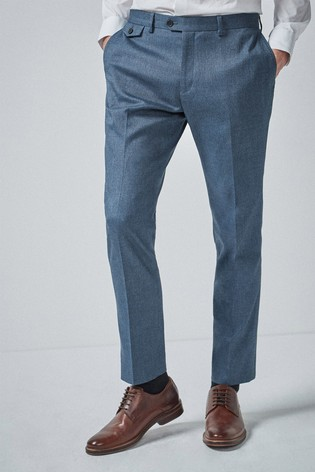 Blue Tailored Fit Donegal Suit: Trousers