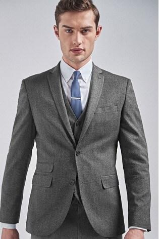 Grey Slim Fit Donegal Suit: Jacket