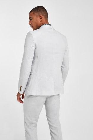 Chalk Jacket Linen Blend Skinny Fit Suit