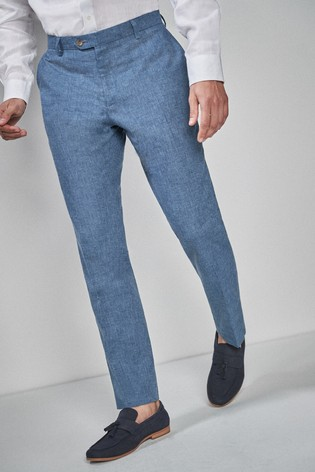 Navy Skinny Fit Linen Blend Suit: Trousers