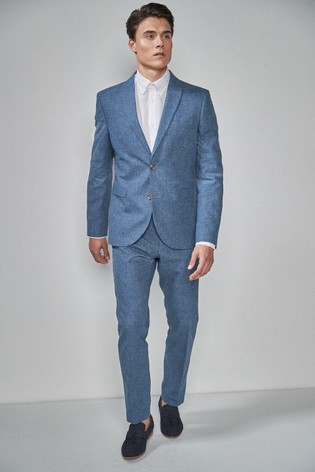 Navy Jacket Linen Blend Skinny Fit Suit