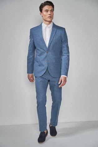 Navy Skinny Fit Linen Blend Suit: Jacket