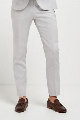 Chalk Skinny Fit Linen Blend Suit: Trousers