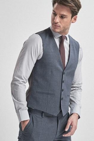 Light Blue Textured Suit: Waistcoat