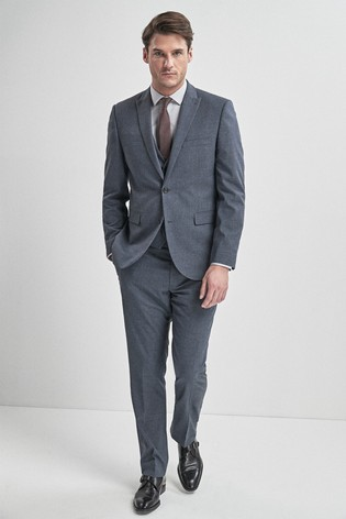 Light Blue Tailored Fit Textured Suit: Jacket