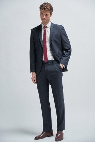 Navy Regular Fit Textured Suit: Jacket