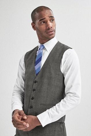 Grey Textured Suit: Waistcoat
