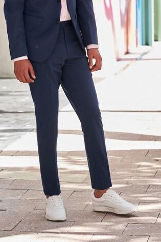 Bright Blue Slim Tapered Bi-Stretch Suit: Trousers