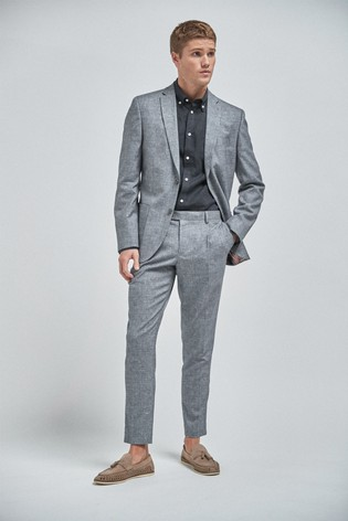 Light Blue Textured Slim Fit Textured Linen Blend Suit: Jacket