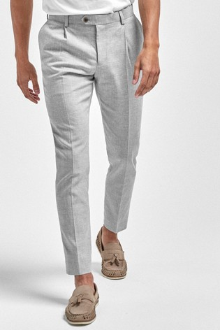 Grey Textured Slim Tapered Textured Linen Blend Suit: Trousers