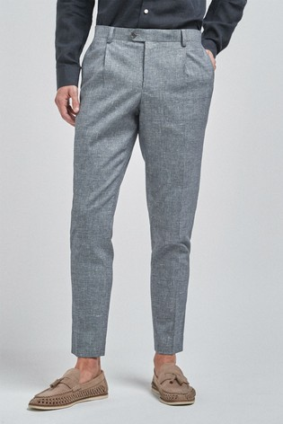 Light Blue Textured Slim Tapered Textured Linen Blend Suit: Trousers