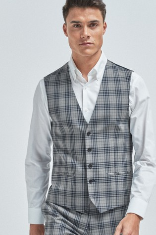 Light Grey Check Suit: Waistcoat