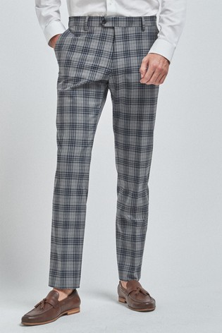 Light Grey Slim Fit Check Suit: Trousers