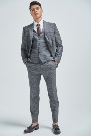 Grey/Navy Skinny Fit Gingham Check Suit: Jacket