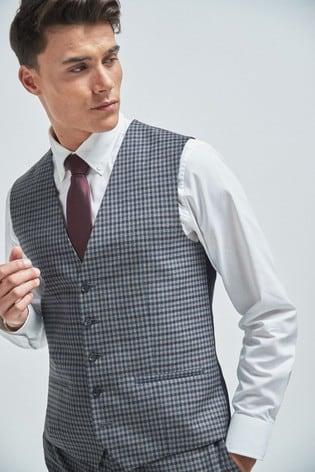 Grey Regular Fit Check Suit: Waistcoat