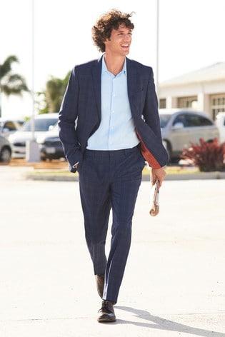 Bright Blue Slim Fit Motion Flex Check Suit: Jacket