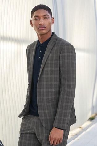 Light Grey Slim Fit Motion Flex Check Suit: Jacket