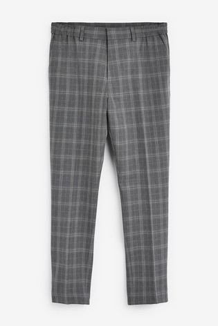 Light Grey Slim Tapered Bi-Stretch Check Suit: Trousers