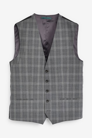 Light Grey Bi-Stretch Check Suit: Waistcoat