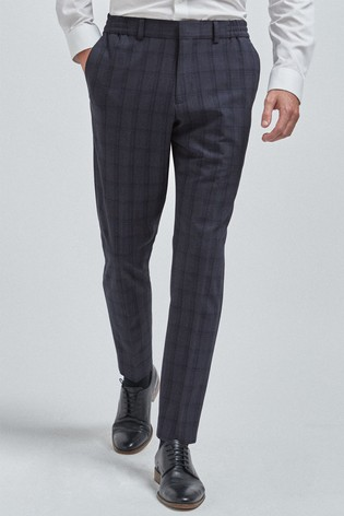 Navy Trousers Check Motion Flex Slim Fit Suit