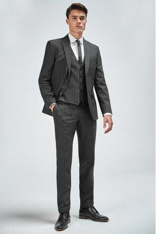 Black Slim Fit Stripe Suit: Jacket