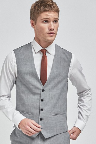 Light Grey Wool Mix Textured Suit: Waistcoat