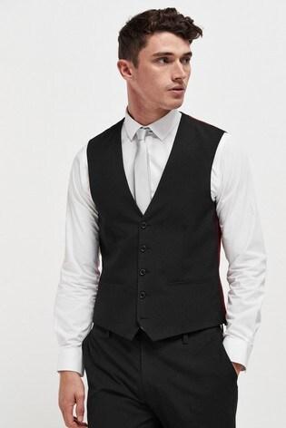 Black Wool Mix Textured Suit: Waistcoat