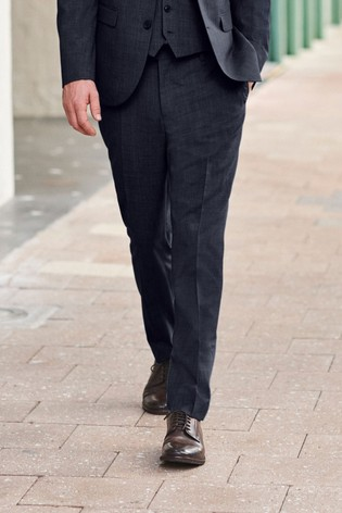Navy Tailored Fit Wool Mix Textured Suit: Trousers